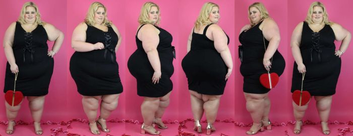 Heavy woman in a small black dress for valentine by EnergyToBeauty