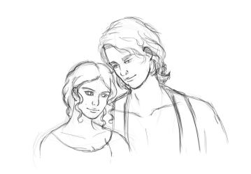 Anakin and Padme by AsjJohnson