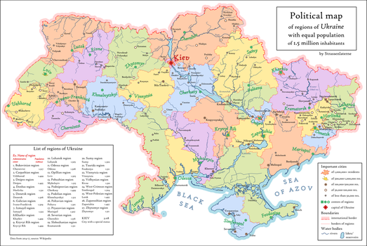 Ukraine with regions of equal population by Strassenlaterne