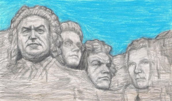 Left to right, Bach, Mozart, Beethoven, Schubert. Gagambo, at Deviant Art.