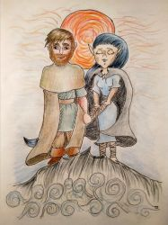 Beren and Luthien - cartoon style by romenriel