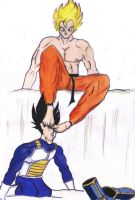 Goku Dominates Vegeta_Colour by gokufeet