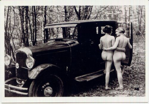 Two PinUps and a Vintage Car by PostcardsStock