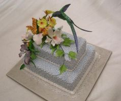 Humming bird and Orchid cake by The-EvIl-Plankton