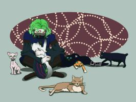 God marvin with cats by QueenOfSpades010