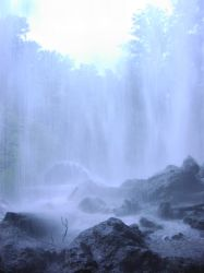 Blue Waterfall Full by Della-Stock