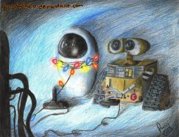 wall-e and eve playing PONG by pandapaco