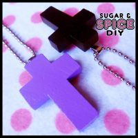 HARD CANDY Wicked Cross Handmade Necklace Charm by wickedland