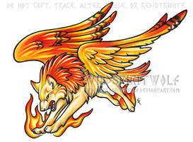 Phoenix Wolf Color Tattoo by WildSpiritWolf