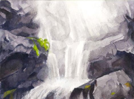 waterfall watercolour by elisetrinh