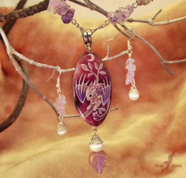 Moonlight dragon baby  - necklace - stone painting by AlviaAlcedo