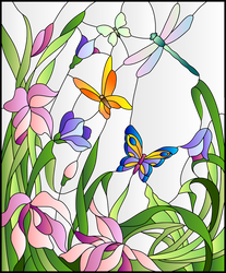 Vitral-libelula-y-mariposas-por-colores-degradados by Creaciones-Jean