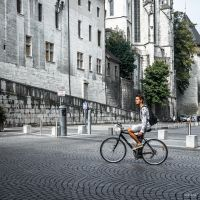 Cyclist And Castle by Rikitza