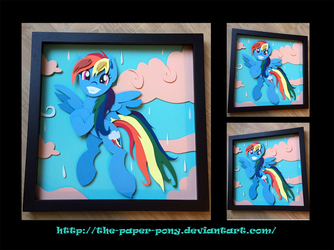 12x12 Wet Mane Rainbow Dash Shadowbox by The-Paper-Pony