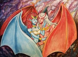 Demona and Brooklyn watercolor by LordMaru4U