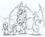 Charmander Evolution Rough Sketch by MizyThang