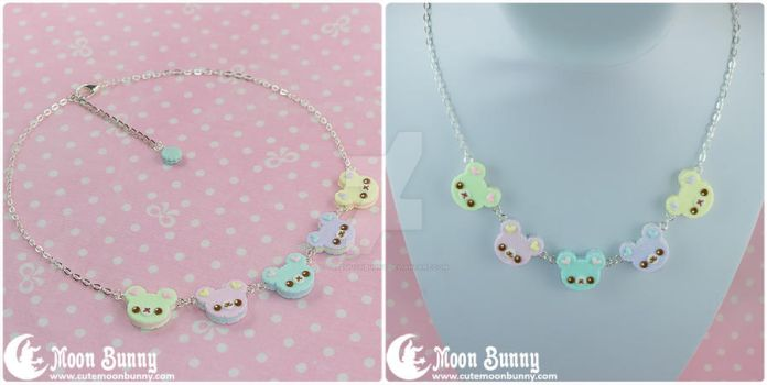 Rainbow bears necklace by CuteMoonbunny