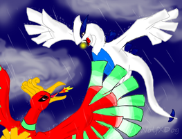 Lugia VS Ho-Oh by wolfxdog