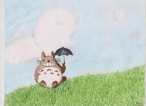 Totoro and His Umbrella by Elephants-on-Skates