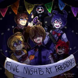 HAPPY 4th ANNIVERSARY FNAF by AdriKoneko-Mizuiro
