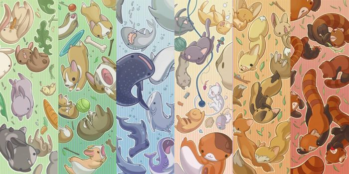 Falling aminals bookmarks by evui