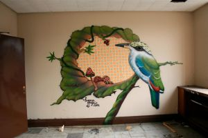 Kingfisher waiting - spraypaint by faunagraphic