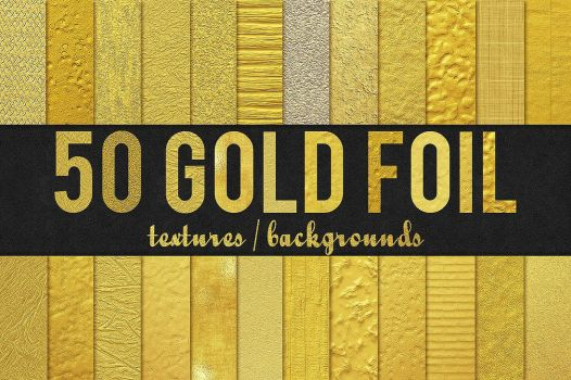 50 Gold Foil Textures / Backgrounds by GraphicAssets