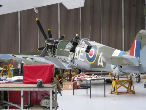in the hanger shot ,duxford,spitfire mk5 by Sceptre63