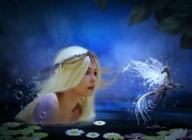 Mermaid and water wyrm by MelFeanen