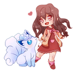 COMMISSION: Chibi Trainer and Alolan Vulpix by SeviYummy