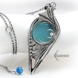 SHARRNZIRL - Silver, Blue Chalcedony and Blue Onyx by LUNARIEEN