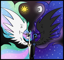 MLP: Celestia and Nightmare Moon by Rej-kun