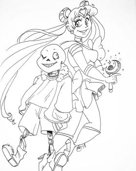 Bone and Meatballs heads lineart by cherryhobbit
