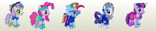 MLP Gameloft Retro Mane 6 and Spike by PapercraftKing