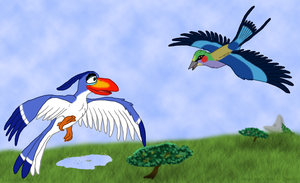 Zazu and Onani in Flight by Quachir