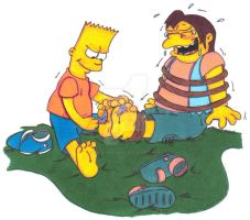 Tickle Torture: Bart Tickling Nelson by KnightRayjack