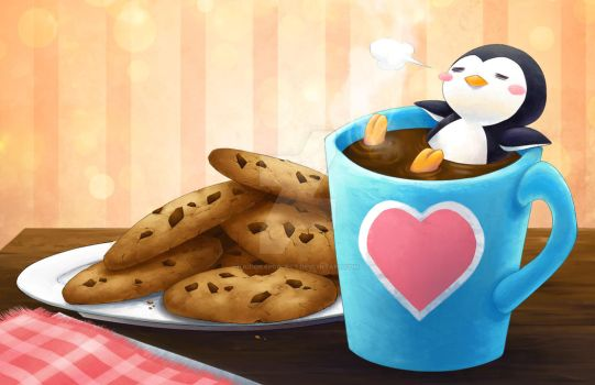 Coffee n' Cookies - Lazy Penguin by kidoairaku