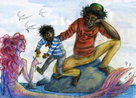 Anansi Boys: Hanging out with Mermaid by PoppyCharm