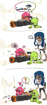 heavy splatling and young inklings by euraru