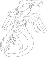 angel dragon snuggles lineart F2U by holyhell111