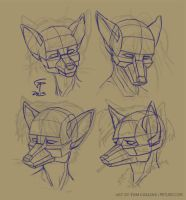 Anthro Head Structure Studies by Pyrosity