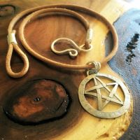 Stamped Pentagram Necklace by MoonLitCreations