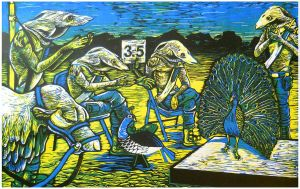 Beauty Contest Relief Print by AmandaMyers