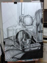 Still life with glass (charcoal) by elodagus