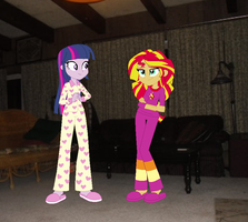 Twilight and Sunset In Their Pajamas by Eli-J-Brony