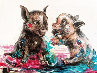 Pigs playing in nail polish by james-talon