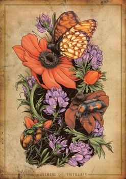 Anemone and Fritillary - Tattoo by scumbugg