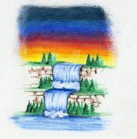 Waterfall - Color Pencil 2011 by B-Richards