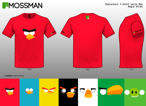 Characters T-shirt serie Man - Angry birds by Mrmossman