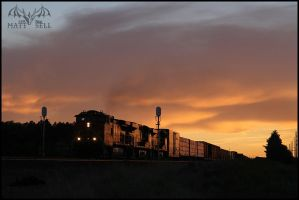 BNSF Sunset by DragonWolfACe